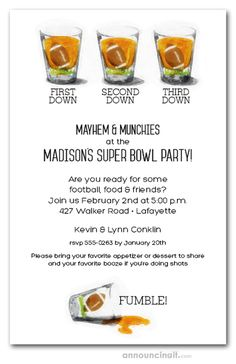 First down, second down, third down, fumble! Football shot glasses are fun Super Bowl party invitations. See our entire collection at Announcingit.com Football Party Invitations, 60th Birthday Party Invitations, Cinderella Invitations, One Two Three, Invitation Wording, Shot Glasses, Super Bowl, Third, Food