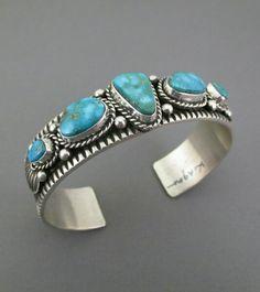 Kingman Turquoise Sterling Silver Cuff Bracelet by Guy Hoskie.
