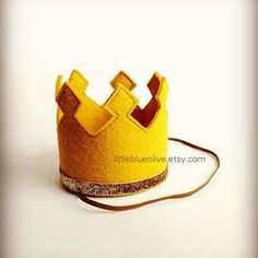 Gold Crown Felt Crown Headband Gold Glitter