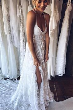 A Line Court Train Halter Sleeveless Backless Side Slit Cheap Wedding Gown,Beach Wedding Dress W159