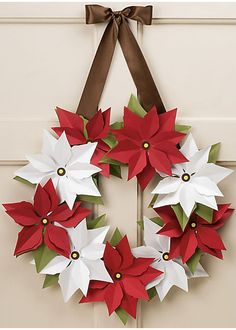Poinsettia Wreath Kit-- paper wreaths for every season! Another option with flowers from the online store. Office Christmas, Christmas Art, Christmas Projects, Christmas Wreaths, Christmas Ornaments, Christmas Poinsettia, Beautiful Christmas, Paper Christmas Decorations, Poinsettia Wreath