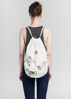 Sommerlicher Rucksack aus Baumwolle mit Blumenprint, Festival Rucksack / festival backpack with floral print, summer fashion made by Lootbag via DaWanda.com