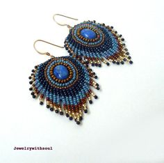 Denim peacock feather bead embroidery fringe by jewelrywithsoul, $49.00