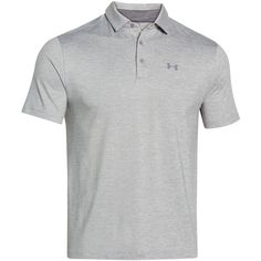 Under Armour Men's Playoff Performance Heather Golf Polo ($65) ❤ liked on Polyvore featuring men's fashion, men's clothing, men's shirts, men's polos, true gray heather, mens polo shirts, mens striped polo shirts, mens golf polo shirts, mens striped shirt and under armour mens shirts