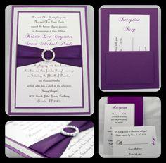 Stunning Purple & Silver Glitter Wedding Invitation Full of Bling, Sparkle, and Dazzle. $6.15, via Etsy.