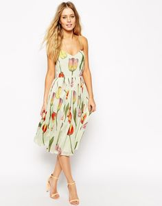 Image 1 ofASOS Midi Strappy Skater Dress in Tulip Print with Pleated Skirt