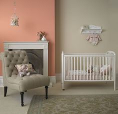 Beautiful nursery / baby bedroom painted in Crown matt emulsion in Honey Fever and Antique Cream Diy Home Decor Bedroom, Baby Bedroom, Girls Bedroom, Bedrooms, Bedroom Ideas, Master Bedroom, Large Metal Wall Art, Large Art, Wall Colors