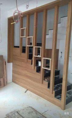 Living Room Partition Design, Pooja Room Door Design, Room Partition Designs, Bedroom False Ceiling Design, Modern Bedroom Design, Stair Railing Design, Home Stairs Design, Home Building Design, Staircase Wall Decor