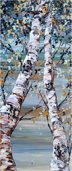 Looking Up Shades of Grey By Maya Eventov Oil 72 x 30 The Gallery at Brookwood