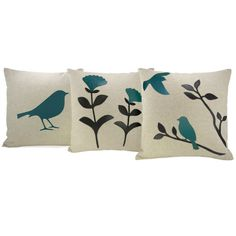 going to paint some throw pillows like this... turquoise birds and branches...