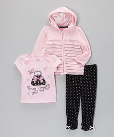 With a 'fancy' yet fun-friendly tee, easy-on leggings and a zip-up hoodie with ruffles and satin lining, this getup-and-go outfit offers darlings a complete top-to-bottom look that's teeming with charm.Includes tee, hoodie and leggingsTee: 100% cottonHoodie: 100% polyesterLeggings: 95% polyester / 5% spandexMachine wash; tumble dryImported