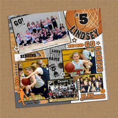 12x12 Digital Sports Collage  Basketball Theme by lklaflen on Etsy, $20.00