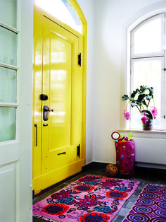 Take a peek at our favorite yellow doors from around the web. As an interior or exterior accent, this bright hue is bound to shake up your home with color. For more paint and color ideas and home design trends go to Domino. Home Interior, Interior Decorating, Interior Door, Yellow Interior, Interior Ideas, Decorating Tips, Interior Rugs, Decorating Websites, Colorful Home Decorating