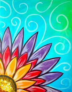 Rainbow Flower whimsical painting with swirls. Rainbow Flower whimsical painting with swirls. Simple Canvas Paintings, Easy Canvas Art, Flower Painting Canvas, Diy Painting, Easy Flower Painting, Kids Canvas, Easy Paintings, Rainbow Painting, Rainbow Drawing