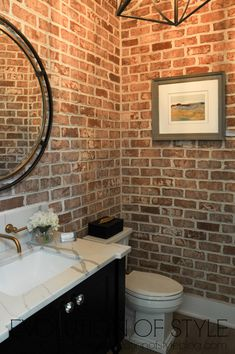 2018 Homearama Modern Farmhouse Tour - Exposed brick powder room 2018 Homearama - A modern farmhouse with lots of room for entertaining and having fun, plus an unexpected bonus area. Small Bathroom Redo, Brick Bathroom, Bathroom Ideas, Modern Farmhouse Powder Room, Modern Farmhouse Exterior, Tiny Powder Rooms, Modern Powder Rooms, Powder Room Decor, Powder Room Design