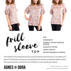 Agnes & Dora Frill Sleeve Top. Click here to check them out! www.shoppingwithbeth.com