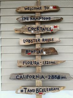 Custom Hand Painted 6 or 8 Tiered Driftwood Sign with Driftwood Post - Directional Sign - Mileage Sign Beach Signs Wooden, Driftwood Signs, Painted Driftwood, Driftwood Projects, Driftwood Art, Diy Pallet Projects, Home Crafts, Diy Home Decor, Directional Signs