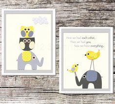 Yellow and grey Nursery Art Print Set, 8x10, Childrens Room Decor,  Baby Wall Art - love bird, grey elephant, grey nursery, owl via Etsy