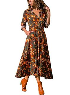 9ef33e24cf Dokotoo Womens Dress Casual Long Sleeve Floral Print Shif... https