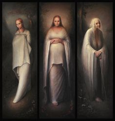 Maiden, Mother, and Crone (Triptych), Oil on Linen, x x 3 : Art Maiden Mother Crone, Witch Painting, Triple Goddess, Modern Witch, Diane, Wise Women, Triptych, Heart Art, Fantasy Art