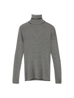 Ribbed sweater with stripes, made of a mulberry silk and wool blend. Features a straight fit, a high neck and long sleeves.