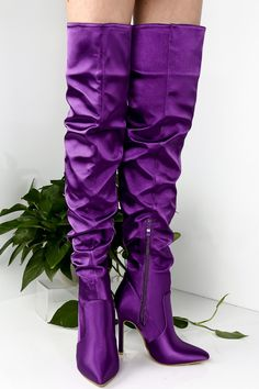 These boots shoes feature a satin point toe ,  side zipper ,over the knee boots, a stiletto high heel shoes measures about 5 inches.over the knee measures about 28 inches.