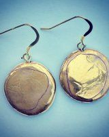Textured gold lustre round earrings. Made from porcelain with vermeil ear-wires. Handmade and lovely and light to wear.