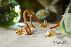 Joyería con flores naturales - Set Redondo Transparente con Girasoles -