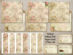 11 Piece Vintage Cottage Chic Paper Pack 6 12x12 papers Tags & more  (CT2AOWD) printable Postcards for journaling, scrapbooking, gift tags, by OrangeWillowDesigns on Etsy