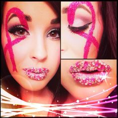 Breast cancer awareness month makeup... check out those rhinestones on the lips!!!! makeup by Salon Della Duchess Seattle http://www.salondelladuchess.com