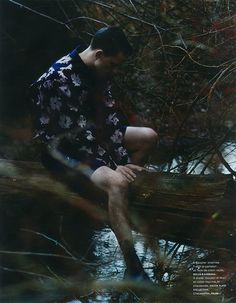 Brayden Pritchard photographed in the forest by Billy Kidd and styled by Jean Michel Clerc with pieces from Jil Sander, Paul Smith, Dolce & Gabbana and more, for the latest issue of Numéro Homme.