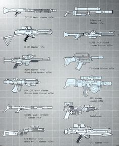 Write Better Star Wars — Blaster pistol and blaster rifle ID charts (from. Star Wars Characters Pictures, Star Wars Pictures, Star Wars Images, Star Wars Guns, Star Wars Rpg, Star Wars Ships, Blaster Star Wars, Star Wars History, Star Wars Spaceships