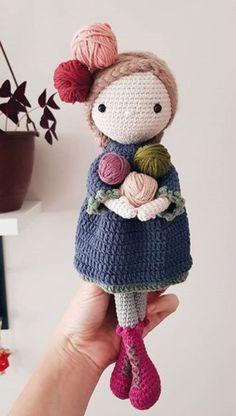 Cute crochet doll , plushie for wool lovers - amigurumi - Crochet Amigurumi, Crochet Bunny, Cute Crochet, Amigurumi Doll, Crochet Doll Tutorial, Crochet Doll Pattern, Crochet Patterns Amigurumi, Knitted Dolls, Crochet Dolls