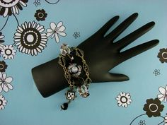 """BEADED CHAIN BRACELET-Steampunk Bracelet-Shabby Chic-Black-Silver-Gold-Adjustable-6 1/2"""" to 9""""-Lobster Claw Clasp-Cuff Bracelet-Anklet-Fun by TheShabbyJean on Etsy https://www.etsy.com/listing/259495408/beaded-chain-bracelet-steampunk-bracelet"""