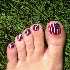 of July Flag toes :) Happy 4 Of July, 4th Of July, Pedicure, Summer Fun, Nail Colors, Nail Art, Girl Stuff, Nails, Creative