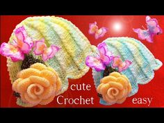Aprende como tejer a Crochet gorro flor con aplicaciones de mariposas 3D y rosas en una tira - YouTube