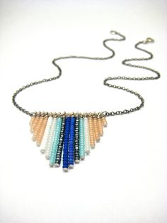 Cocktail Hour Seed Bead Necklace - Ombre Blue, Nude, White & Gunmetal. $25.00, via Etsy.