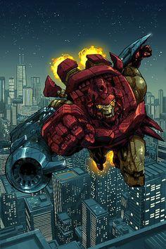 Iron Man by Pat Lee * Marvel Comic Universe, Marvel Vs, Marvel Heroes, Marvel Characters, Superior Iron Man, Iron Man Cartoon, Dr Octopus, Pat Lee, Iron Man Movie