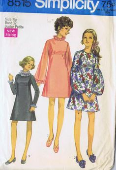 "Empire DRESS VINTAGE SEWING PATTERN SIMPLICITY 8515 SIZE 7JP BUST 32 HIP 33"" CUT"