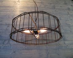 """Industrial Chandelier - 21"""" Round Cage Ceiling Light - Upcycled Metal Pendant Light - Industrial Lighting - Repurposed Lamp - Ceiling Mount"""
