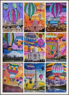 """Surreal Hot Air Balloon Collages"" from the blog MaryMaking using watercolors, markers, and calendar pages. Helpful tips on drawing 3D hot air balloons can be found at the blog The Lost Sock too."