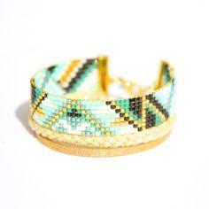 Bracelet manchette miyuki et tresse dorée