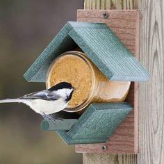 Vähän erilainen lintulauta -http://www.duncraft.com/Peanut-Butter-House-Feeder #lintulauta
