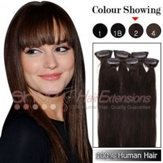 20 Inches Clip-in Human Hair Extensions Straight (( Darkest Brown)) Cheap Hair Extensions, 100 Human Hair, Color Show, Brown, Brown Colors