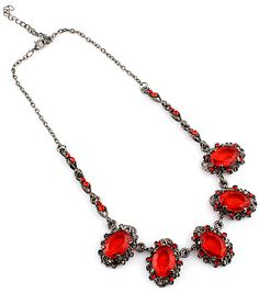 Red Gemstone Drop Silver Chain Necklace