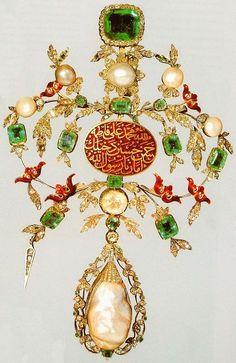 Jewelry, 18th century. Emeralds, diamonds, pearls; red enamel. Topkapi Palace Museum, Istanbul, Turkey