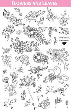 I am pleased to introduce my new Floral Collection! Floral Doodles Collection contains 240 elements: flowers, leaves, branches, bouquets, decorative elements Art Inspiration Drawing, Doodle Inspiration, Zentangle Patterns, Embroidery Patterns, Geometric Embroidery, Felt Embroidery, Flower Embroidery, Machine Embroidery, Floral Doodle