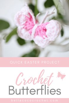 If you're looking for the perfect Springtime project then get these quick and cute butterflies on your hook today! This FREE pattern makes the perfect project for Easter. Crochet Flower Squares, Crochet Butterfly Pattern, Easter Crochet Patterns, Crochet Patterns For Beginners, Applique Patterns, Crochet Flowers, Crochet Ideas, Scrap Yarn Crochet, One Skein Crochet