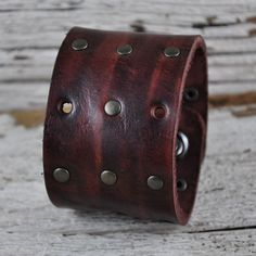 Rustic Brown Leather Cuff by Northernleather on Etsy