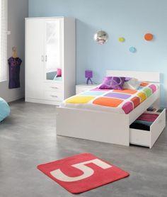 Jugendzimmer Linus VIII - 3tlg. Weiß #Möbel #weiß #Schlafzimmer #Nachtkommode #Bett #Schrank #Spiegel #Kinderzimmer